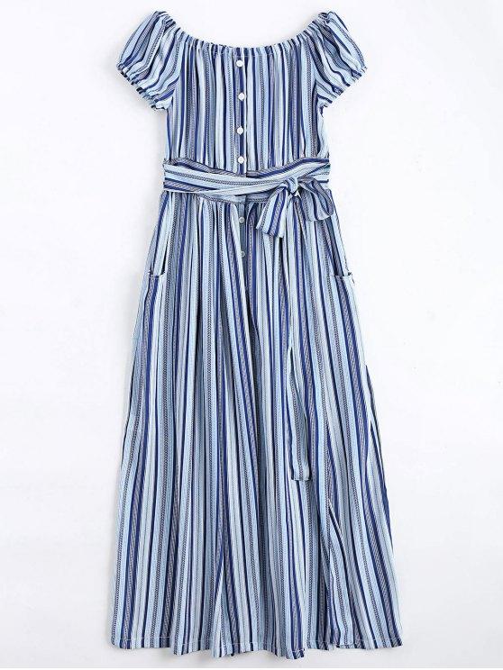 ladies Stripes Button Up Off Shoulder Maxi Dress - STRIPE S