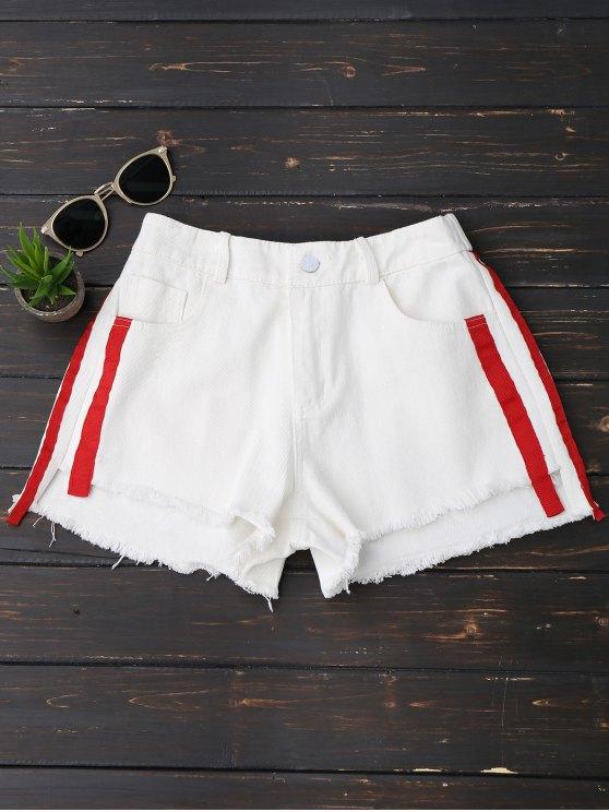 outfits Striped Frayed Hem Denim Shorts - WHITE XL
