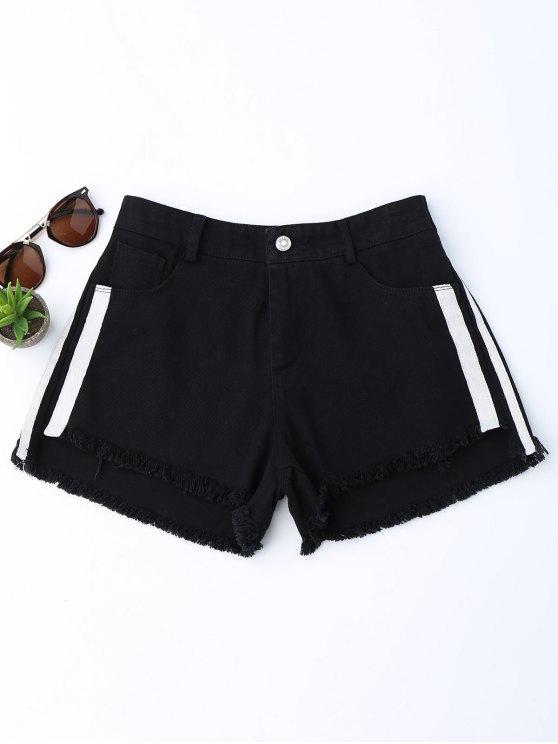 Pantalones cortos rayados de mezclilla Den Denim - Negro XL
