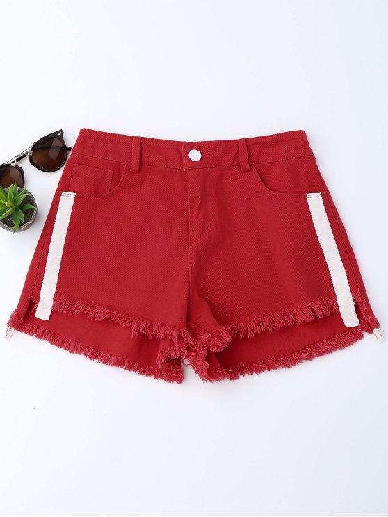 Pantalones cortos rayados de mezclilla Den Denim - Rojo L