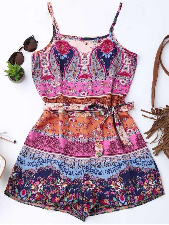 Floral Print Belted Cami Romper - Floral S