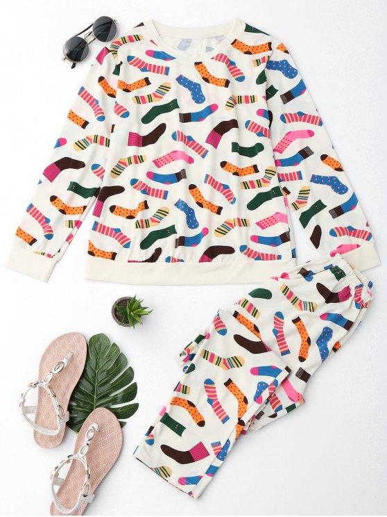 best Cute Socks Print T-Shirt with Pants - PALOMINO M