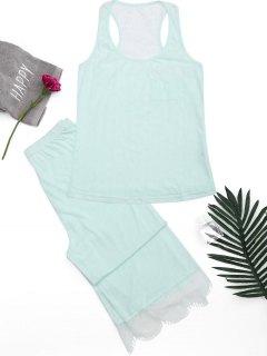 Racerback Lace Panel Loungewear Suit - Light Green S