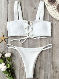 مضلع نسيج الدانتيل يصل ثوب السباحة - أبيض S