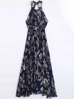 Floral Print Openwork Backless Maxi Dress - Floral S