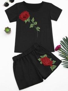 الأزهار منقوشة المحملة والسراويل مجموعة - أسود S