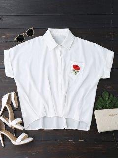زر حتى الأزهار منقوشة بلوزة جيب - أبيض