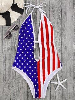 Patriotic American Flag High Cut Swimsuit - S