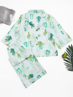 Cactus Print Shirt With Wide Leg Pants - White M