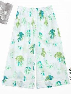 Wide Leg Cactus Print Capri Loungewear Pants - White S