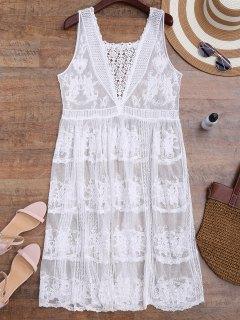 Crochet Panel Square Neck Sheer Cover Up Dress - White