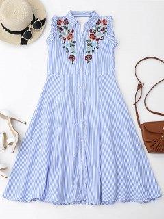 فستان زهري مطرزة كشكش قطع شيرت - الضوء الأزرق S