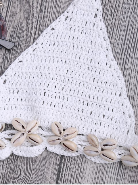 outfits Seashell Trim Crochet String Bikini Set - WHITE ONE SIZE(FIT SIZE XS TO M) Mobile