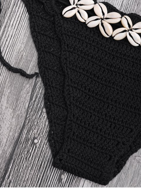 Ensemble de bikini en crochet à coquillage Seashell Trim - Noir Taille Unique(S'adap Mobile