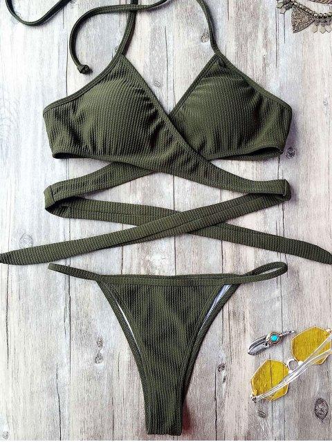 women's Textured High Cut Wrap String Bikini Set - ARMY GREEN L Mobile