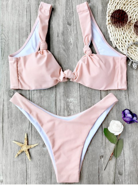 hot High Cut Padded Knotted Bikini Set - PINK L Mobile