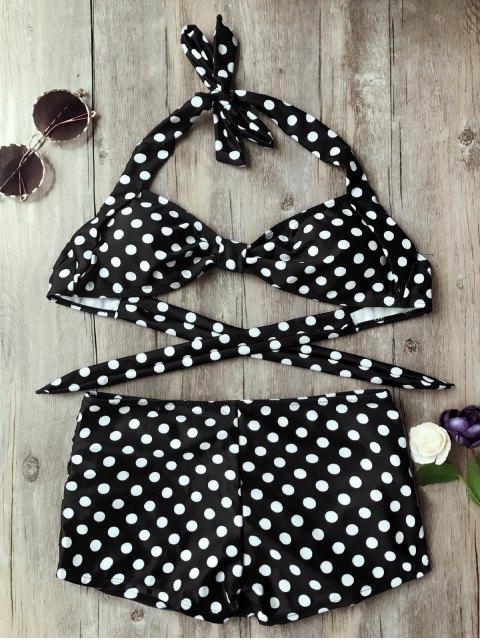 fashion Polka Dot Boyleg Skorts Bikini Set - WHITE AND BLACK M Mobile