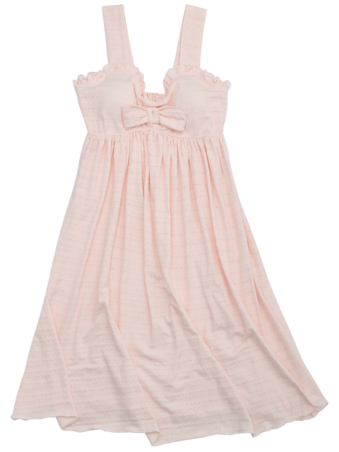 buy Ruffles Straps Bowknot Padded Sleep Dress - SHALLOW PINK S Mobile