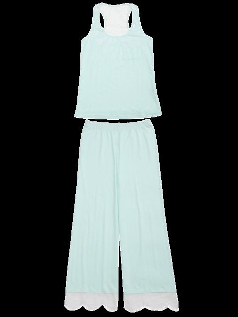 ladies Racerback Lace Panel Loungewear Suit - LIGHT GREEN S Mobile