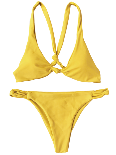 fancy Knotted Padded Scoop Bikini Set - YELLOW L Mobile
