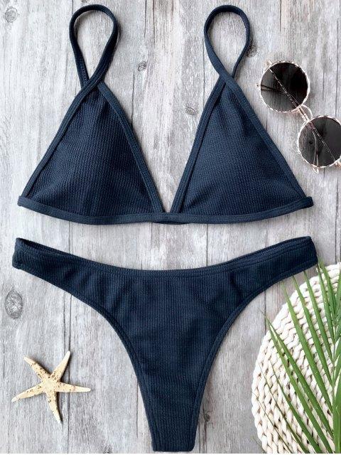 affordable Ribbed Textured Plunge Bikini Set - PURPLISH BLUE L Mobile