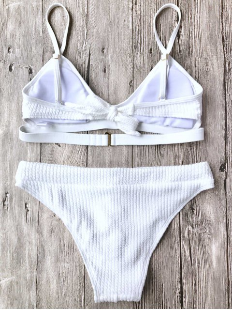 lady Ribbed Lace Up Bralette Bikini Set - WHITE L Mobile