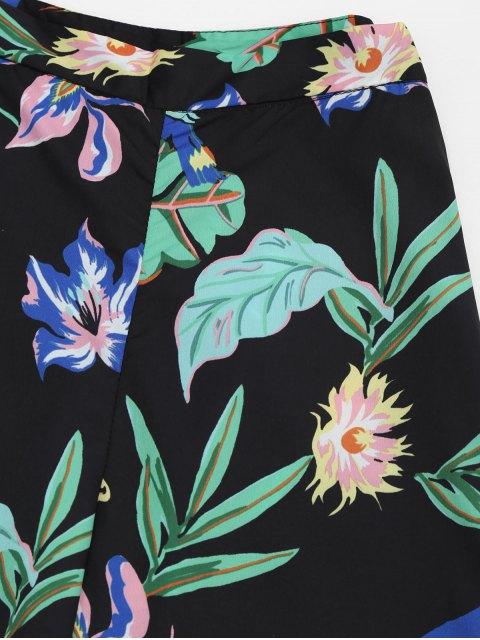 sale Ruffles Floral Palazzo Wide Leg Pants - FLORAL M Mobile