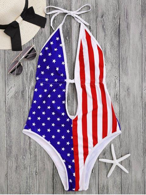 hot Patriotic American Flag High Cut Swimsuit - COLORMIX L Mobile