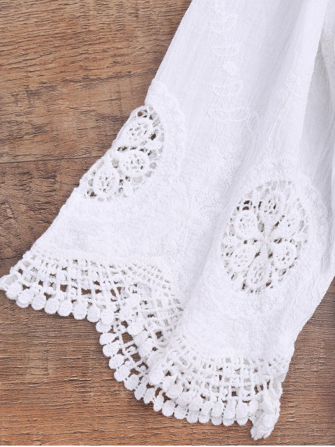 fancy Loose Fitting Crochet Panel Cover Up - WHITE ONE SIZE Mobile