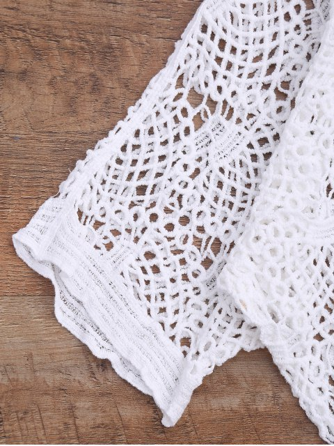 sale Loose Fitting V Neck Crochet Cover Up - WHITE ONE SIZE Mobile