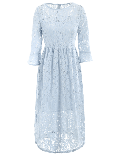 shop Round Neck Flare Sleeve Lace Dress - LIGHT BLUE S Mobile