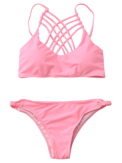 hot Strappy Braided Bikini Set - PINK S Mobile