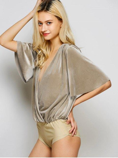 women Velour Wrap Bodysuit - KHAKI L Mobile