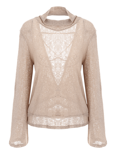 best Back Cut Out Lace Up Turtle Neck Knitwear - OFF-WHITE L Mobile