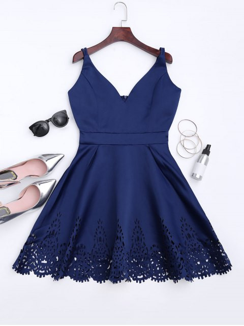 trendy Hollow Out Strappy Flare Dress - CADETBLUE S Mobile
