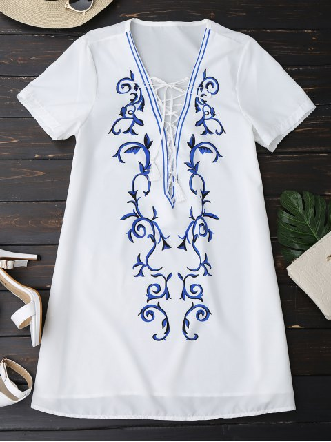 latest Printed Lace Up Plunging Neck Dress - WHITE XL Mobile