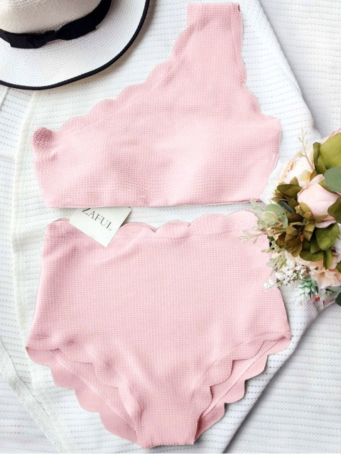 sale High Waisted Scalloped One Shoulder Bikini - PINK M Mobile