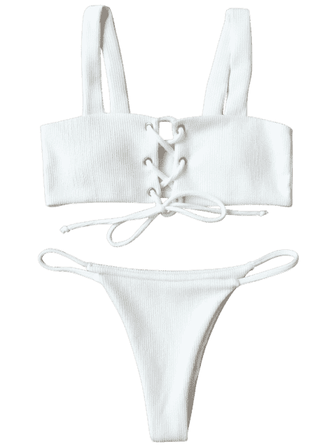 hot Ribbed Texture Lace Up Bathing Suit - WHITE S Mobile