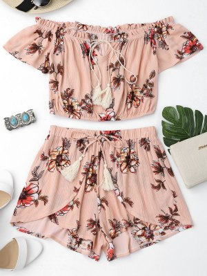 Floral Off Shoulder Ruffles Top and Tulip Shorts