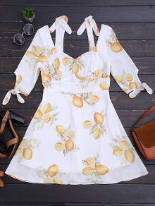 Cut Out Lemon Cold Shoulder Mini Dress