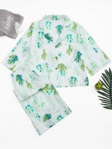 Cactus Print Shirt with Wide Leg Pants