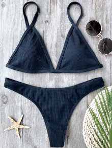 Ensemble De Bikini Plongé à La Texture Côtelée - Bleu Violet L