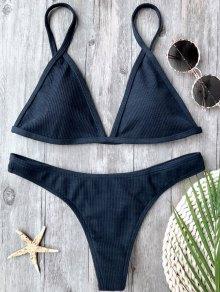 Ribbed Textured Plunge Bikini Set