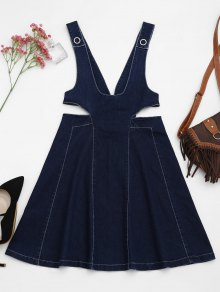 Cut Out Pinafore Denim Dress