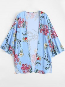 Open Front Floral Print Slit Blouse - Light Blue Xl