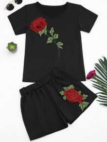 Floral Patched Tee and Shorts Set