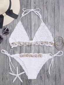 Seashell Trim Crochet String Bikini Set