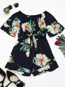 Off The Shoulder Floral Print Ruffled Romper