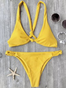 Knotted Padded Scoop Bikini Set
