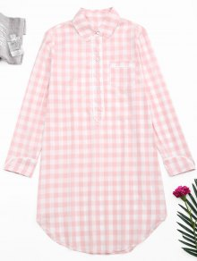 Arc Hem Checked Loungewear Shirt Dress